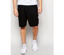 Schwarze, locker geschnittene Shorts mit Faltendetail vorne Schwarz