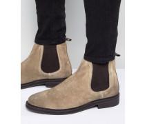 Chelsea-Stiefel aus steingrauem Wildleder mit klobiger Sohle Beige