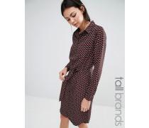 Hemdkleid mit geometrischem Print Rot