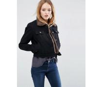 Kurze schwarze Jeansjacke mit Futter aus Lammfellimitat Schwarz