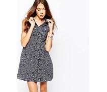 Kleid mit bedrucktem Kragen Blau