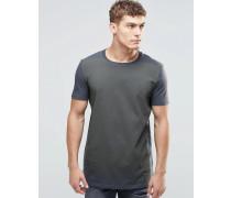 Langes T-Shirt mit Text-Print und Farbverlauf Grau