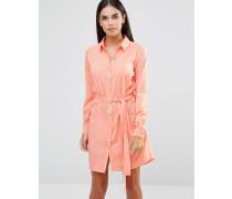Hemdkleid mit Taillenschnürung Rosa