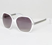 Sonnenbrille mit sechseckigen Rahmen Weiß
