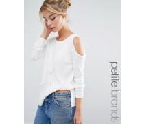 Legerer Pullover mit Schulter-Cutout Weiß