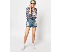 Jeansshorts im Distressed-Look mit hohem Bund Blau