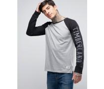 Long Sleeve Baseball Top Sleeve Logo Contrast in Grey/Black Grau