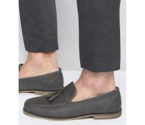 Graue Loafers mit Quasten Grau