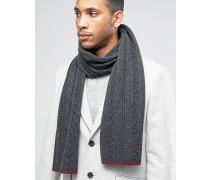 Schal aus Lammwolle mit Zopfmuster und Zierleiste Grau