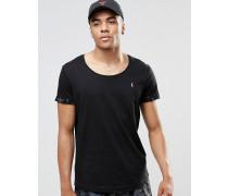 Strand-T-Shirt mit U-Ausschnitt und aufgerollten Bündchen Kombiteil Marineblau