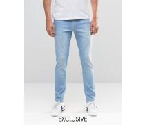 Brooklyn Supply Co Kontrastierende enge Dumbo-Jeans in heller Waschung Blau