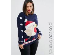 Plus Rockin Robin Weihnachtspullover Marineblau