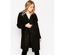 Mantel mit Oversized-Stehkragen Schwarz