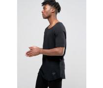T-Shirt mit abgeschnittenen Kanten Schwarz