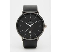 Minimal Uhr mit schwarzem Lederarmband Schwarz
