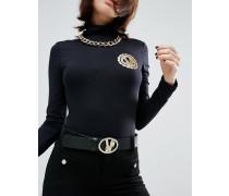 Versace Jeansgürtel mit markentypischer Schnalle Schwarz