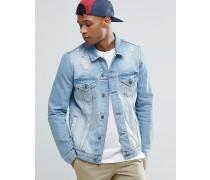 Jeansjacke in mittlerer Waschung mit Rissen Blau