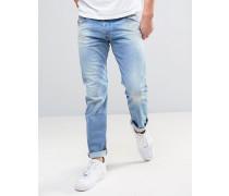 Belther Schmal geschnittene Stretch-Jeans in hellblauer 084CU-Waschung Blau