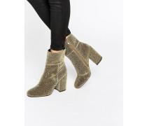 Goldie Goldene Ankle-Boots mit Absatz Gold