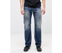 Larkee 0859Y Gerade geschnittene Jeans mit Abnutzungseffekt und dunkler Waschung Blau
