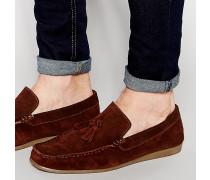 Braune Loafer aus Wildleder Braun