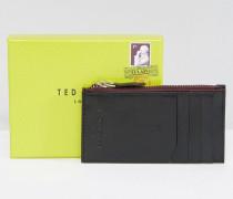 Kartenmäppchen aus Leder mit Reißverschluss Schwarz