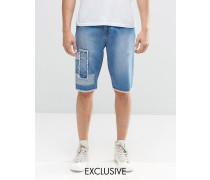Brooklyn Supply Co Patchwork-Shorts in mittlerer Waschung mit unverarbeitetem Saum Blau