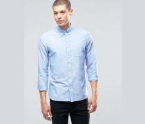 Oxford-Hemd mit Tasche in hellem Rauchbraun und schmaler Passform Blau
