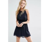 Hochgeschlossenes Chiffon-Kleid mit Bommelverzierung Schwarz