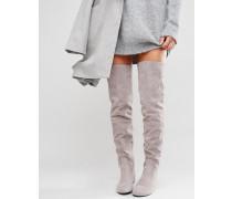 Graue Overknee-Stiefel mit Schnürung hinten Grau