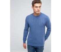 Pullover aus Merinowolle mit Zopfmuster, in Kornblumenblau Blau