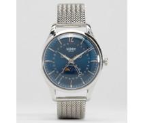 Knightsbridge Moonphase Silberne Uhr mit Datumsanzeige Silber