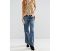Hopkin Kurz geschnittene Jeans mit Schlag und hohem Bund Blau