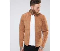 Nudie Criss Wildlederjacke aus Patchwork Bronze