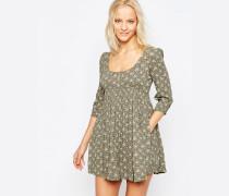 Babydoll-Kleid mit 3/4-Ärmeln in Astoria-Blumenmuster Mehrfarbig