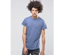 Meter Gestreiftes T-Shirt in Distressed-Optik Blau