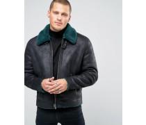Schwarze Jacke in Schaffelloptik mit Kontrastkragen Schwarz