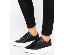 Sneaker mit drei Verschlusslaschen Schwarz