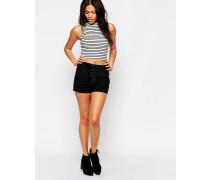 Jeans-Shorts mit hohem Bund und Schnürung Schwarz