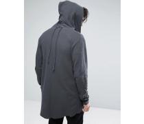 Core Lang geschnittener Kapuzen-Cardigan Grau
