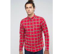 Schmales Oxford-Hemd mit Stretch, Möwenlogo und rotem Schottenkaromuster Rot