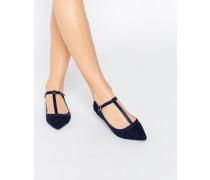 Spitze, glitzernde, flache Schuhe mit T-Riemen Marineblau