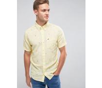 Kurzärmliges Leinenhemd mit kleinem Palmenmotiv Gelb