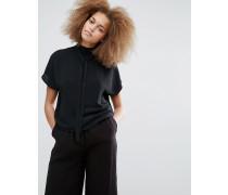 Bluse mit Schnürung am Ausschnitt Schwarz