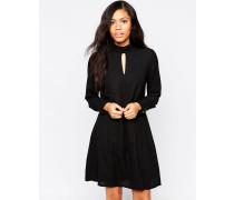 Langärmliges weites Kleid mit Schlüssellochverschluss vorne Schwarz