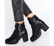 Weiche Stiefel in Lederoptik mit Reißverschluss Schwarz