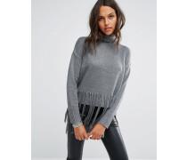 Hochgeschlossener Oversize-Pullover mit Quasten Grau