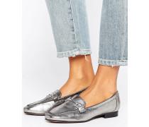 Mew Look Leder-Loafer mit Metallverzierung Silber