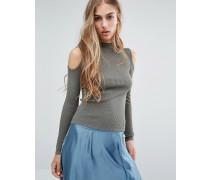 Gerippter Pullover mit Schulter-Cutouts Grün
