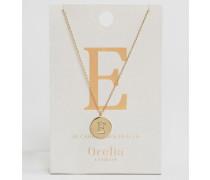 Vergoldete Halskette mit E-Anhänger Gold